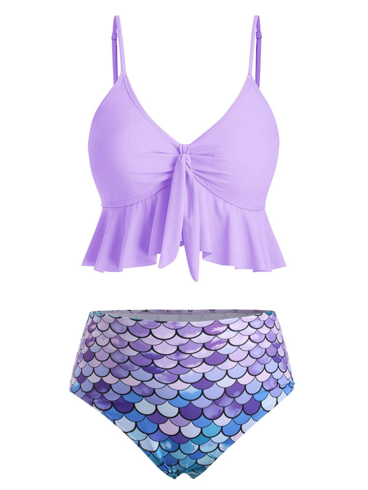 Unique Knot Flounce Scale Print Mermaid Tankini Swimsuit