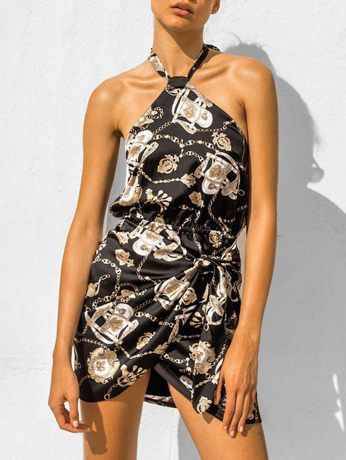 Trendy Halter Chains Print Knotted Mini Dress
