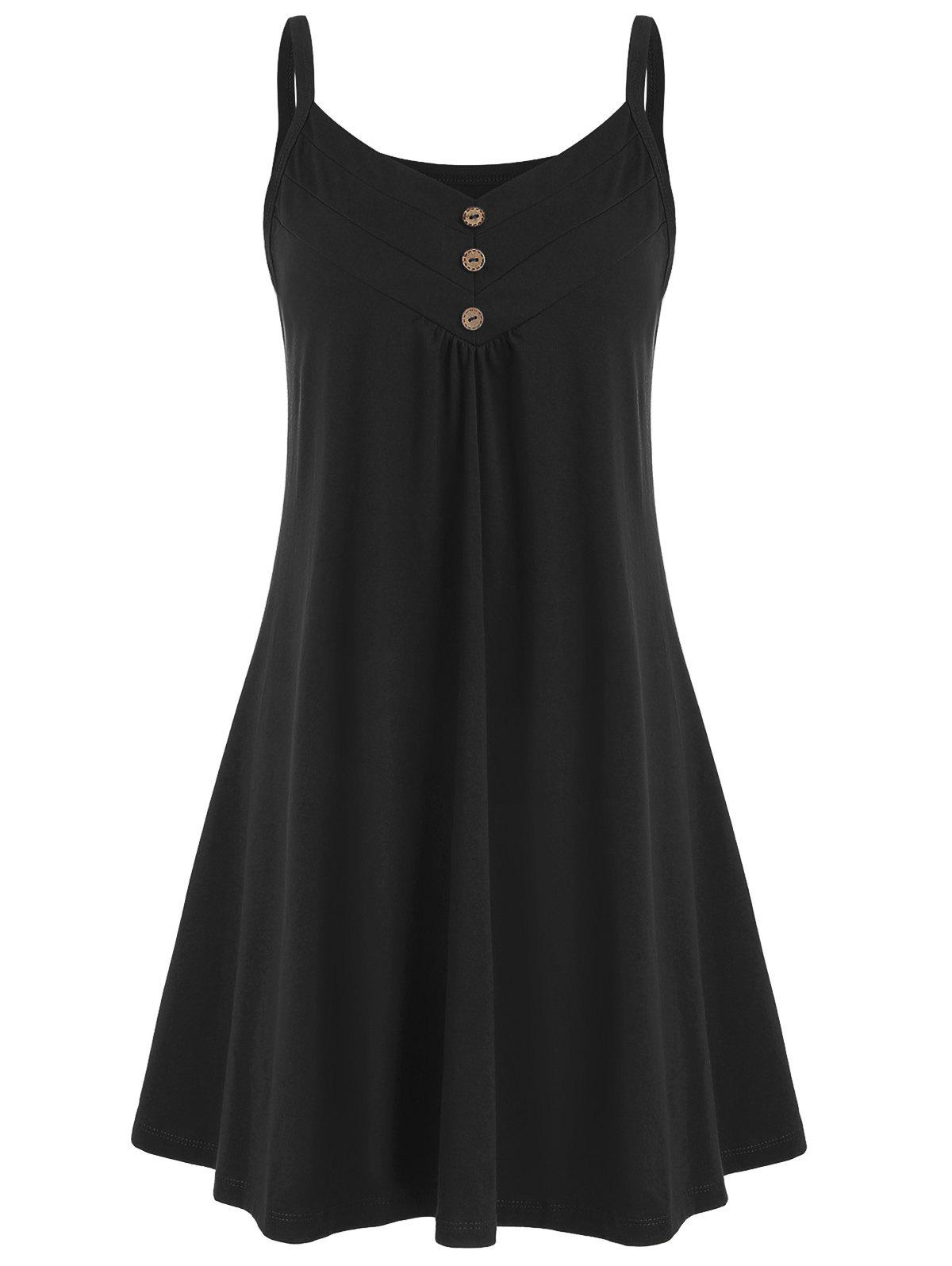Outfit Button Embellished Sleeveless Plain Dress