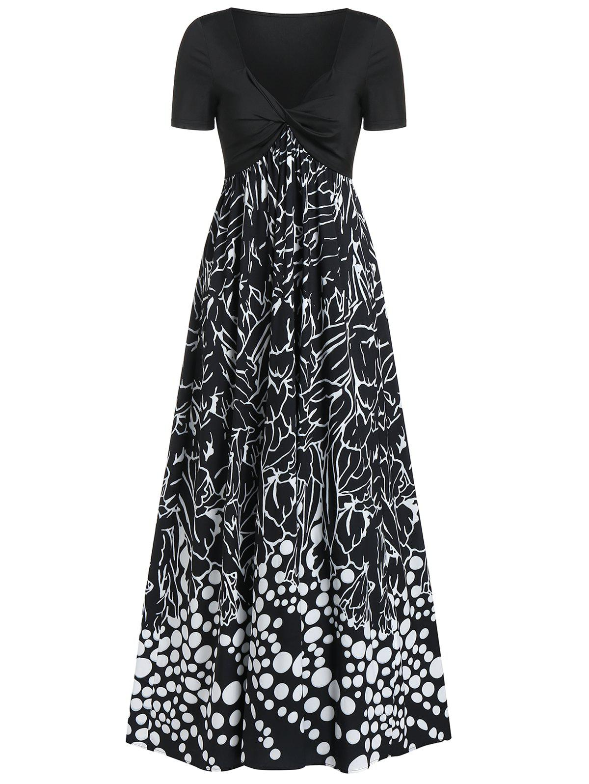 Unique Twist Front Mix and Match Print Plunge Neck Maxi Dress