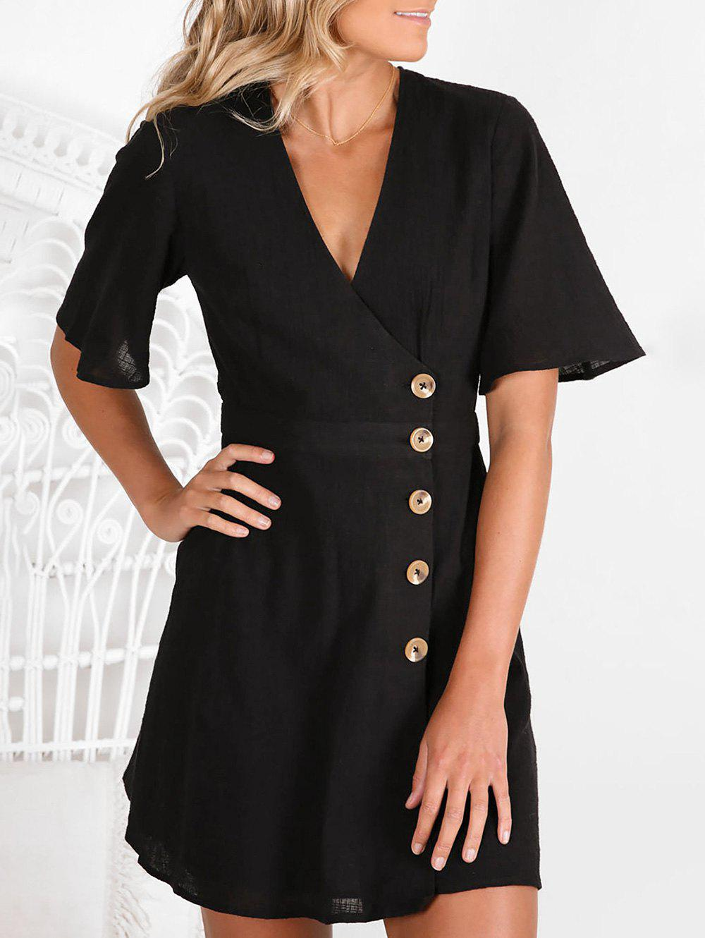 Outfits Side Button Low Cut Casual Dress