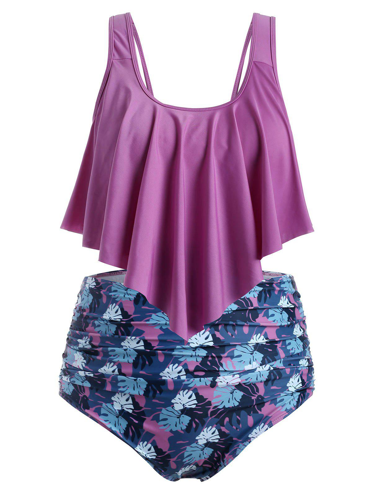 Sale Plus Size Floral Leaf Ruched High Waisted Tankini Swimsuit