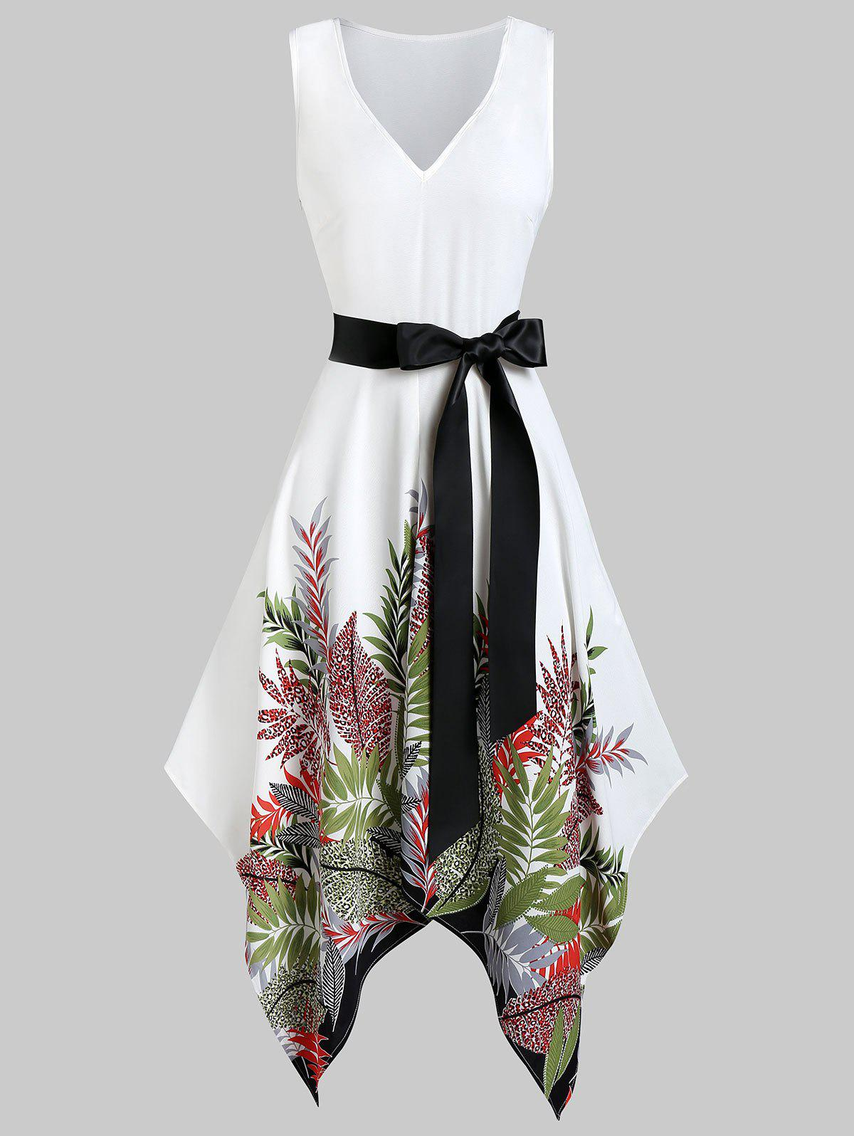 Sale Plunge Plant Print Asymmetrical Belted Casual Dress