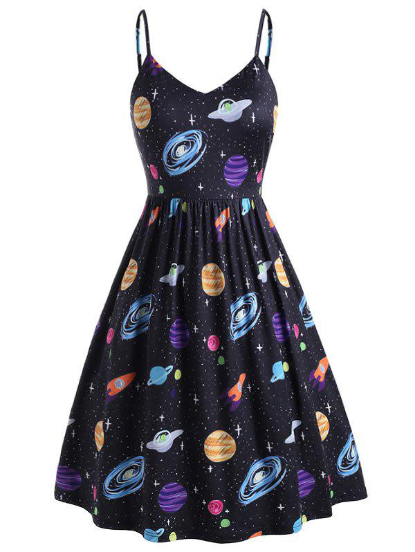 Unique Plus Size Planet Print Side Pocket Cami Dress