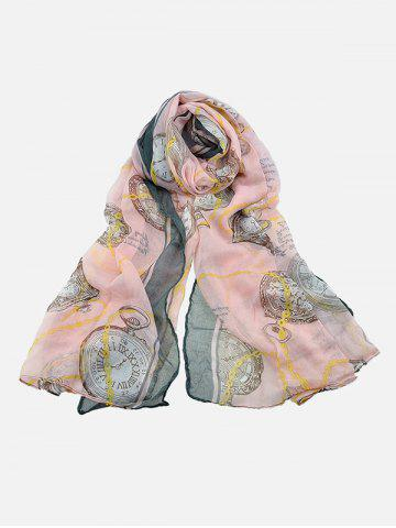 Clock Printed Beach Long Scarf