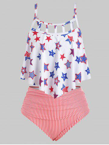 Flounces Cut Out American Flag Plus Size Tankini Swimsuit