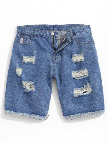 Destroyed Zipper Fly Jeans Shorts