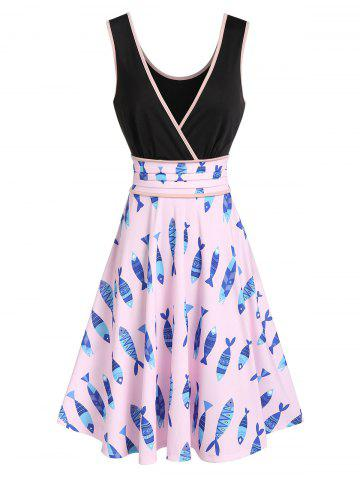 Contrast Fish Print Plunge A Line Dress