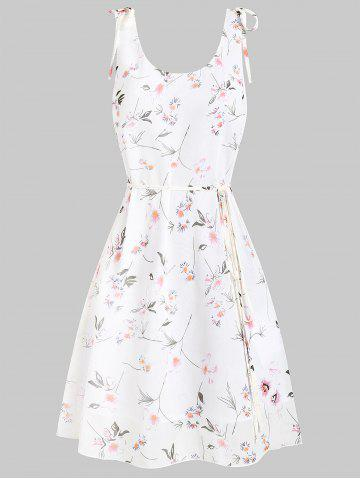 Fit and Flare Ditsy Print Scoop Collar Dress