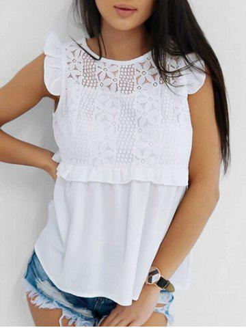Lace Panel Ruffle Armhole Cut Out Blouse