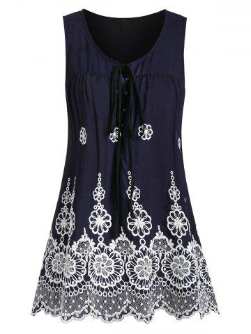 Scalloped Flower Embroidered Casual Tunic Tank Top