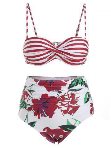 Twisted Underwire Striped Floral Bikini Swimsuit