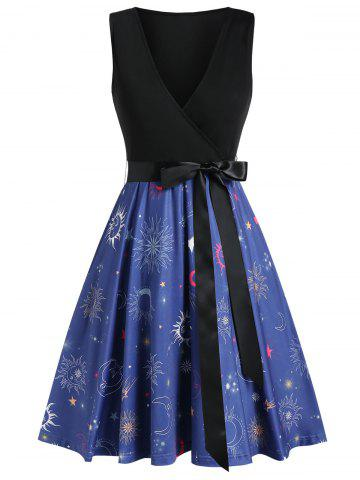 Sun and Moon Print Surplice Dress with Belt
