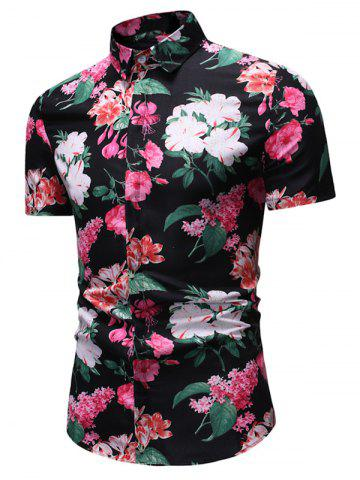 Flower with Leaf Print Button Down Shirt