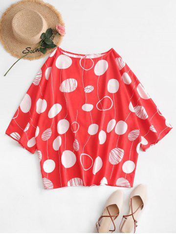 Plus Size Batwing Sleeve Printed Blouse - BEAN RED - 5X