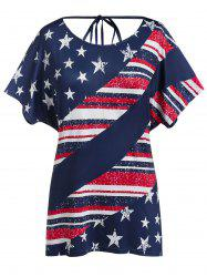 Plus Size American Flag Draped Backless Tunic Tee -