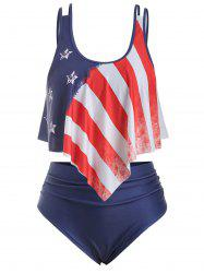 Strappy Flounces American Flag Plus Size Tankini Swimsuit -