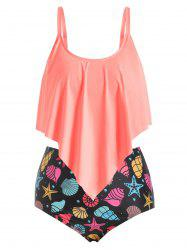 Plus Size Shell Starfish Print High Rise Flounce Tankini Swimsuit -