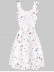 Fit and Flare Ditsy Print Scoop Collar Dress -