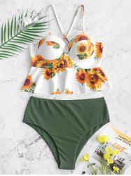 Sunflower Lace-up Underwire Peplum Tankini Maillot de bain - Multi 3XL