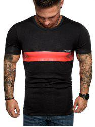Contrast Stripe Patch Crew Neck Casual T Shirt -