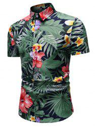 Tropical Flower and Leaves Print Button Up Shirt -