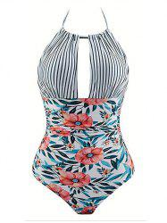 Halter Mix and Match Print One-piece Padded Swimwear -