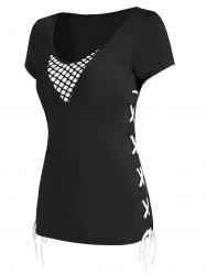 Lace Up Two Tone V Neck T Shirt -