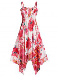 Flower Print Spaghetti Strap Midi Handkerchief Dress -