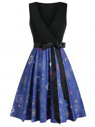 Sun and Moon Print Surplice Dress with Belt -