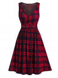 Plunging Neck Checked Zippered Dress -