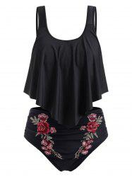 Plus Size Embroidered Ruffled Bikini Swimsuit -