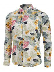Leaves and Flowers Print Button Up Long Sleeve Shirt -