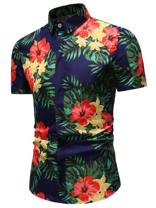 Affordable Hawaii Leaf Flower Print Button Down Shirt