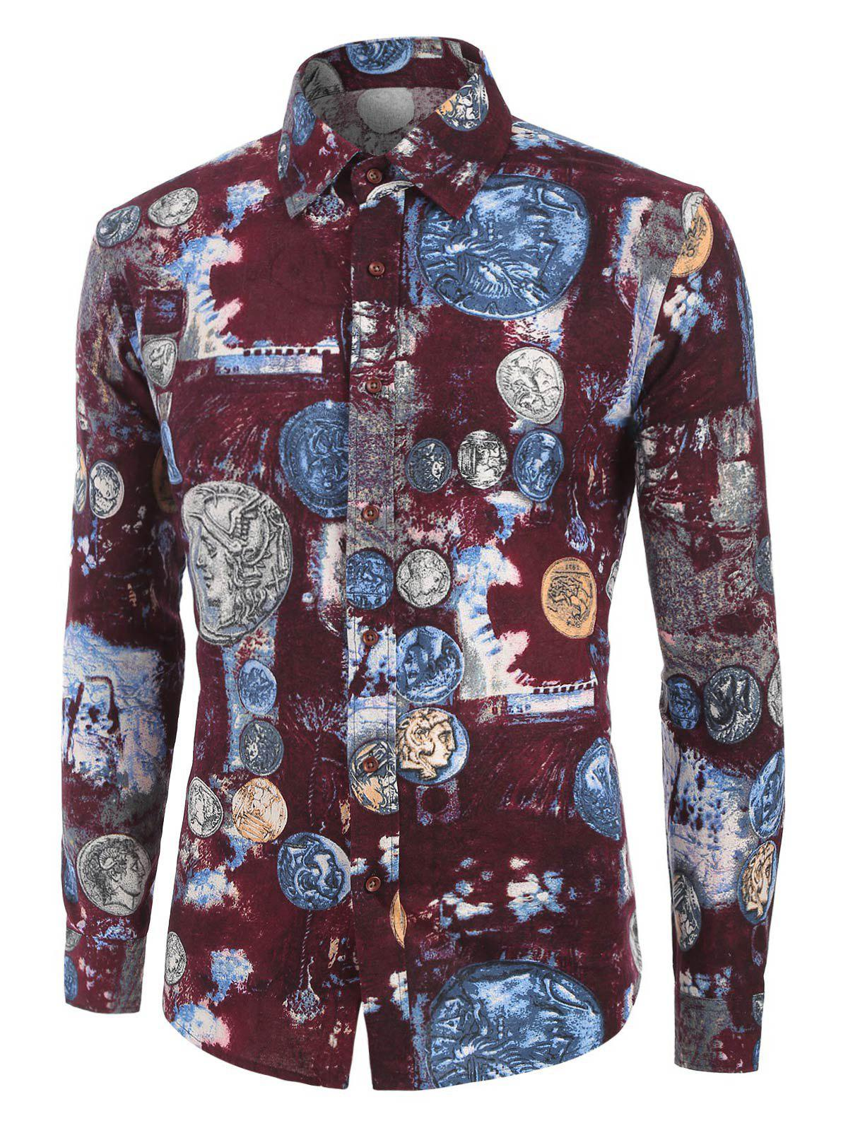 Affordable Coin Pattern Long Sleeves Shirt