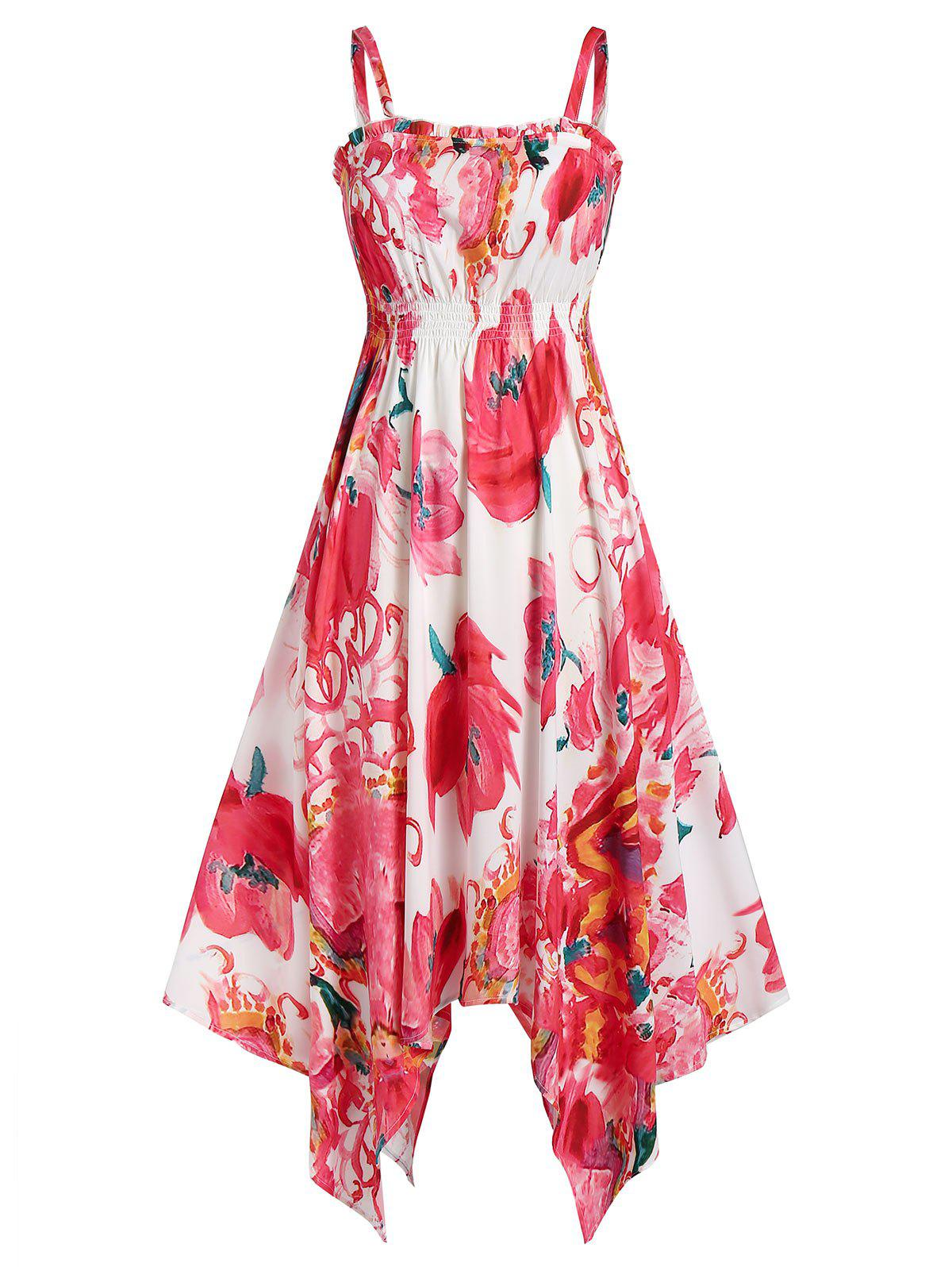 Online Flower Print Spaghetti Strap Midi Handkerchief Dress