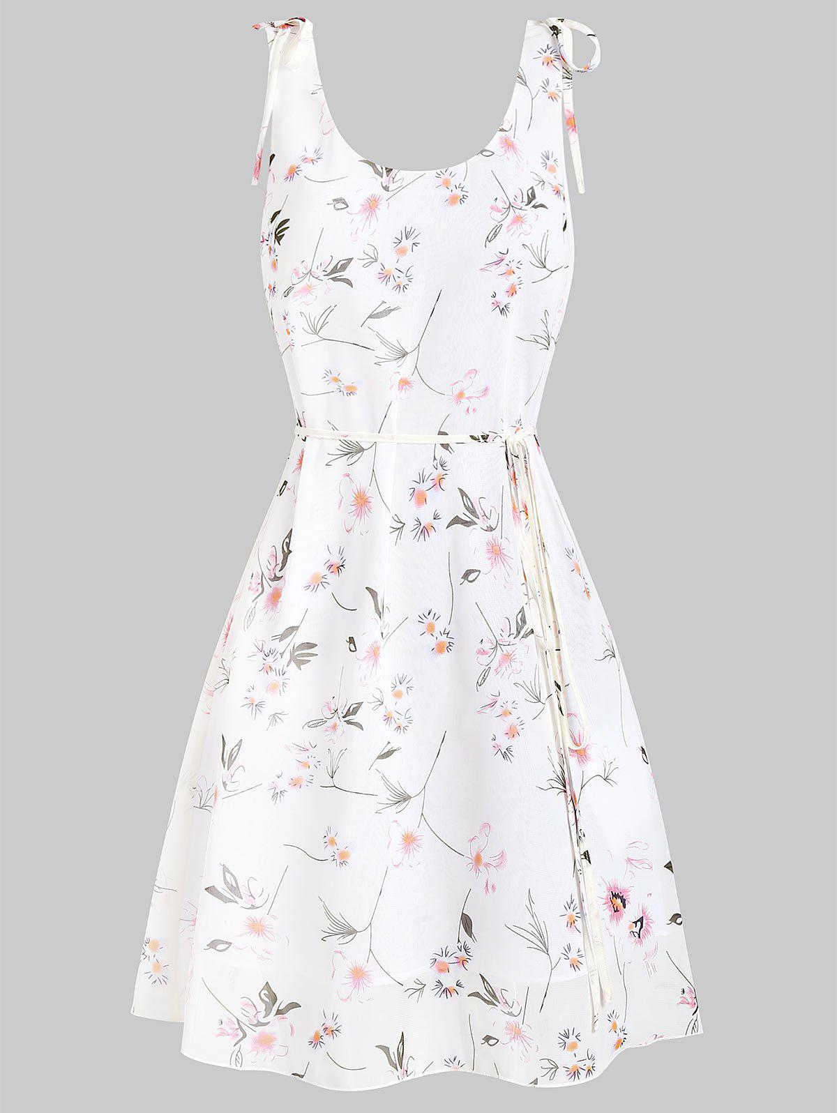 Sale Fit and Flare Ditsy Print Scoop Collar Dress