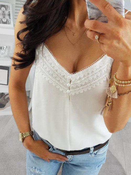 Fancy Lace Guipure Panel Backless Cami Top