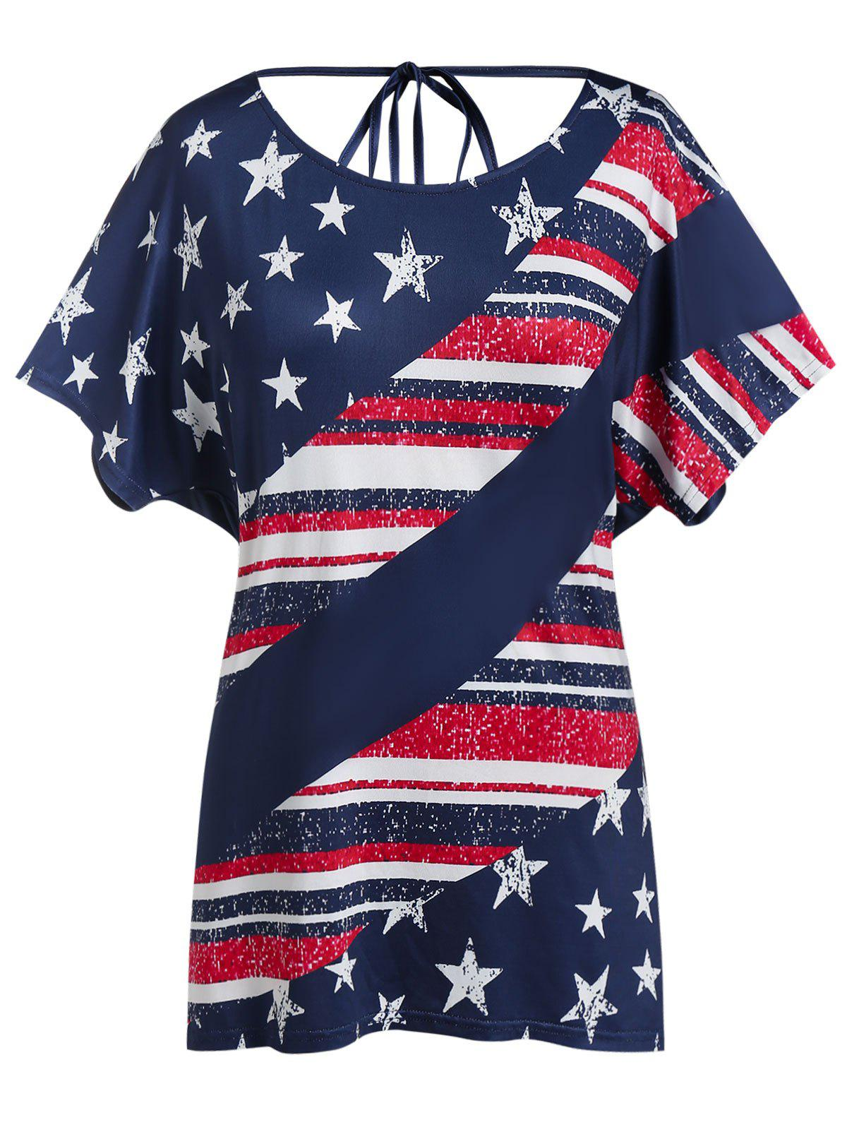 Unique Plus Size American Flag Draped Backless Tunic Tee