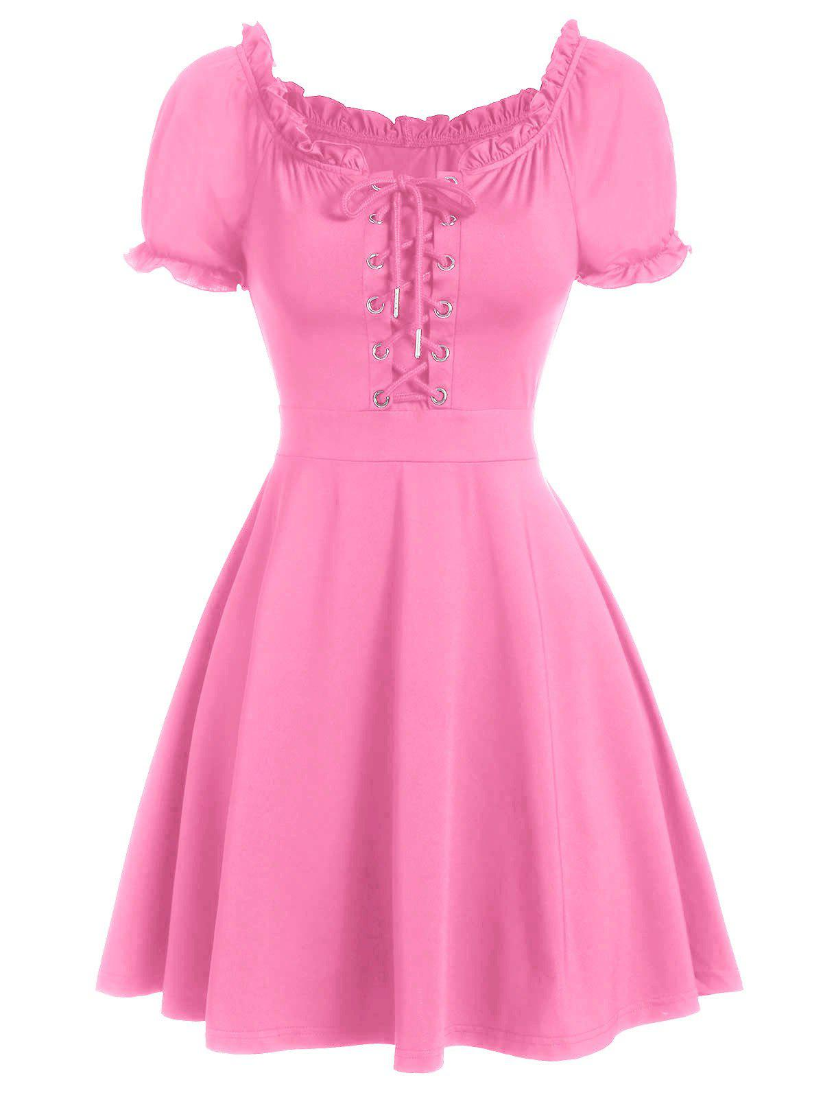Cheap Lace Up Ruffle Skater Dress