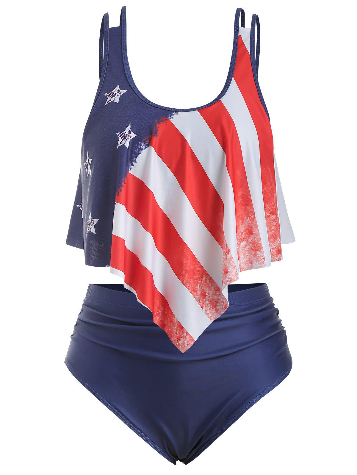 Best Strappy Flounces American Flag Plus Size Tankini Swimsuit