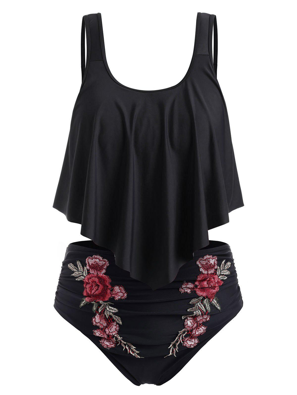 New Plus Size Embroidered Ruffled Bikini Swimsuit