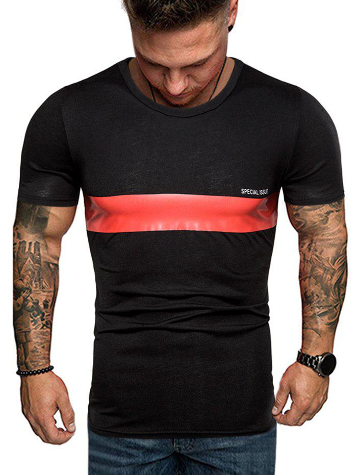 Buy Contrast Stripe Patch Crew Neck Casual T Shirt