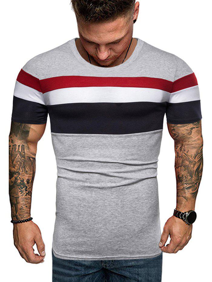 Best Contrast Striped Patch Casual T Shirt