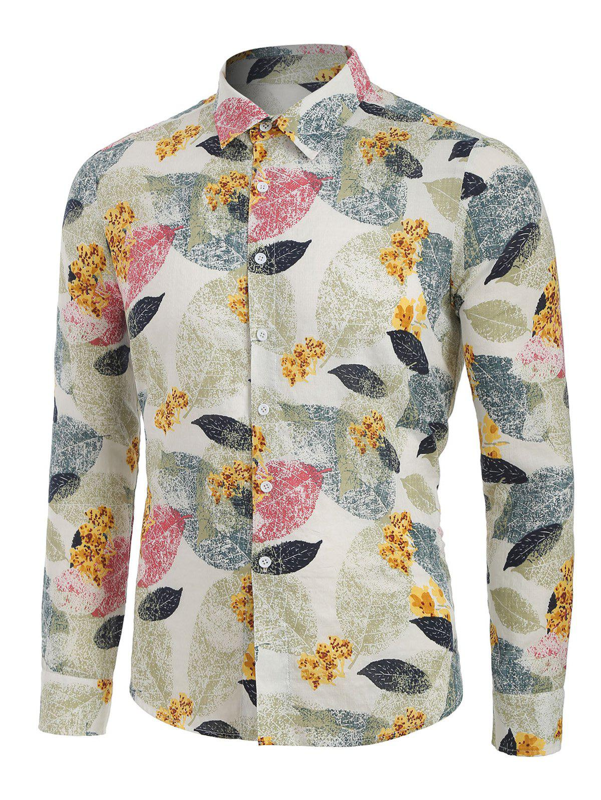 Unique Leaves and Flowers Print Button Up Long Sleeve Shirt