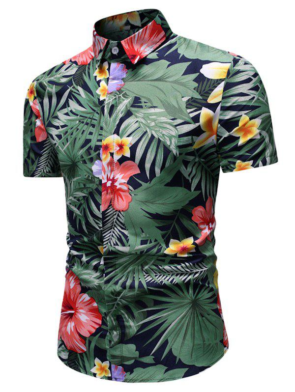 Discount Tropical Flower and Leaves Print Button Up Shirt