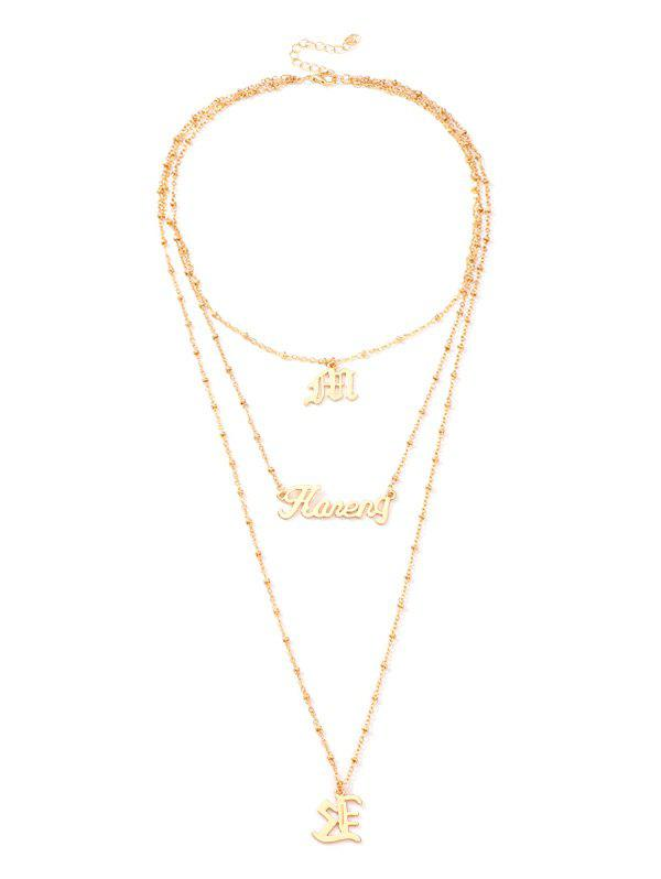 Online Alloy Letter Pendant Layered Necklace