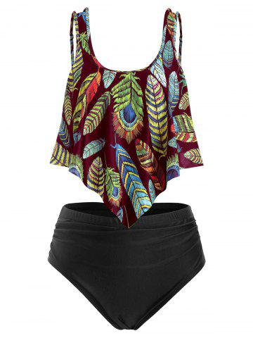 Plus Size Overlay Feather Print Ruched Tankini Swimsuit