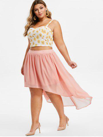 Plus Size High Low Sunflower Print Two Piece Dress