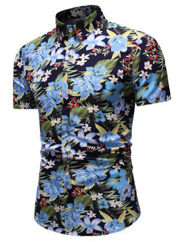 Floral Leaf Print Hawaii Short Sleeve Shirt